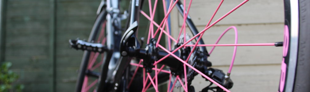Close-up of pinkspokes bicycle wheel